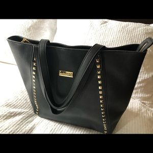 BCBG Black Tote with Gold Studs
